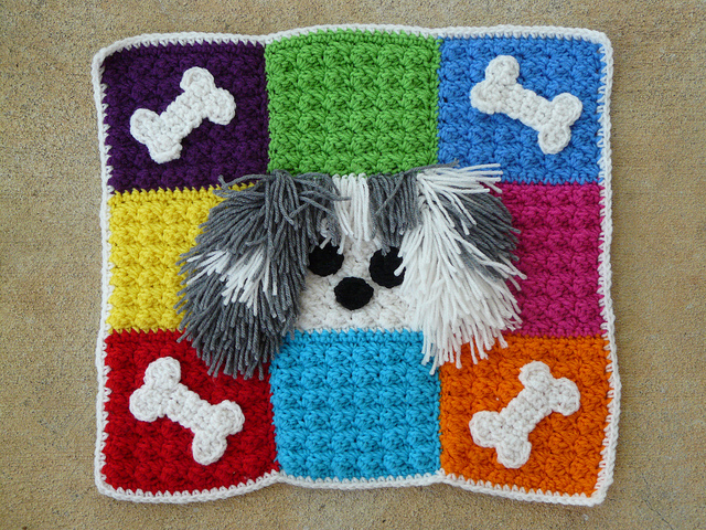 crochet pet mat for Toby