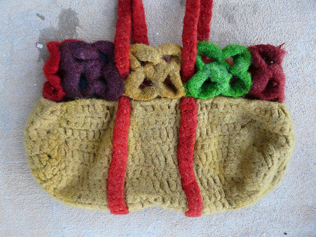 crochetbug, crochet flowers, felted crochet, felting crochet, crochet basket, crochet straps