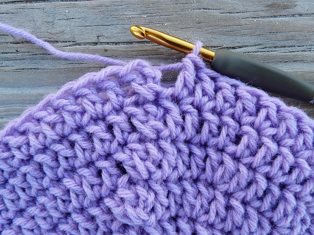 crochet hat made with vintage lavender yarn, crochetbug