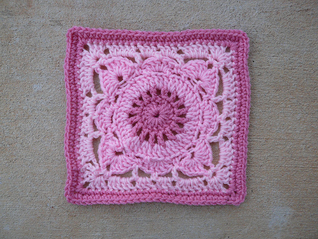 three shades of pink crochet square
