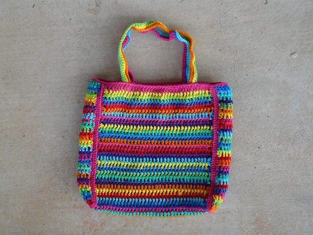 crochet stripe crochet purse