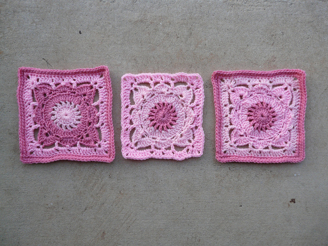 pink crochet squares