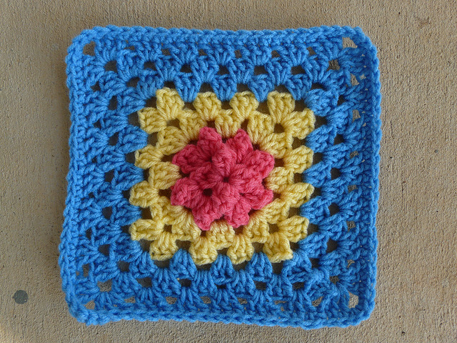 granny square textured crochet square