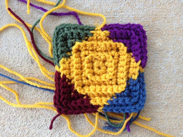 multicolor textured crochet square