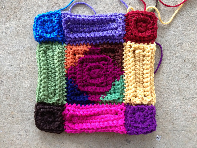 multicolor textured crochet motif