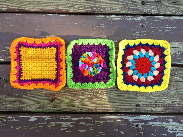 three crochet squares granny squares