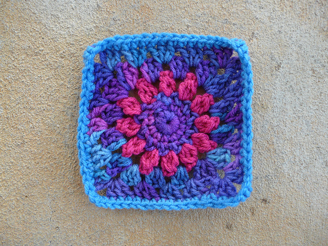 Square 26 crochet square with a center crochet flower