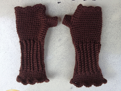 A Pair Of Purple Crochet Victorian Texting Gloves Nears Completion