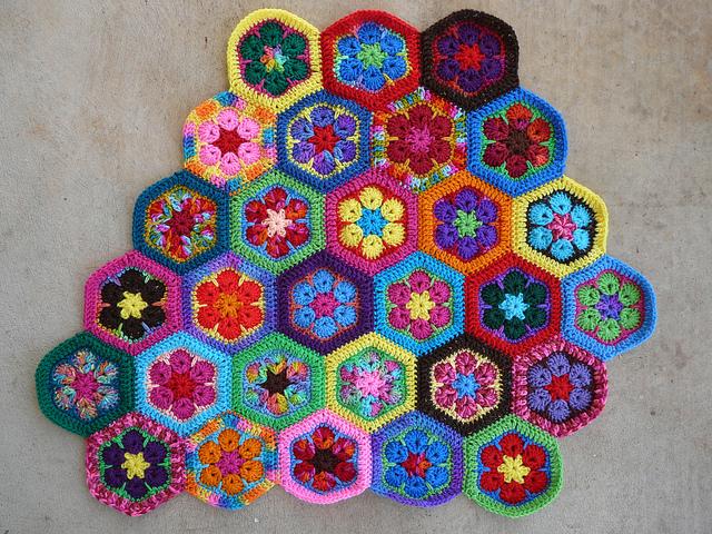 african flower crochet hexagon meditation