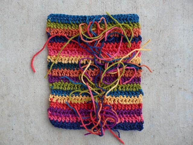 crochetbug, crochet stripes, double crochet stripes, multicolor crochet