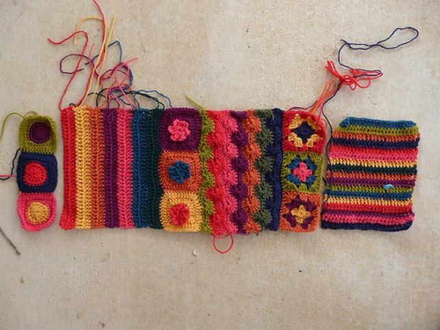 crochetbug, crochet, crocheted, crochet flowers, crochet ascot, crochet stripes, granny squares
