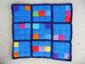 The first sudoku with an additional round of single crochet stitches added to the border