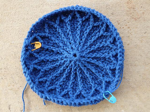blue textured crochet hat