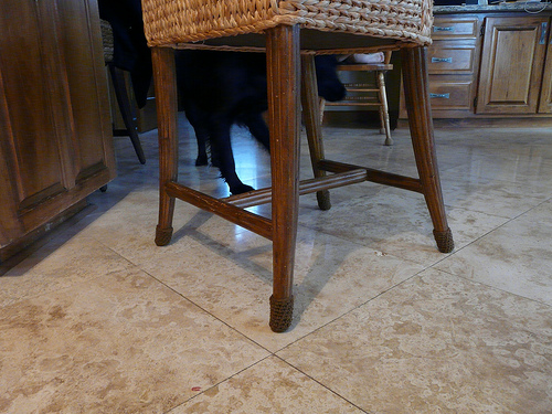 Clooney inspects the recently tricked out kitchen stool