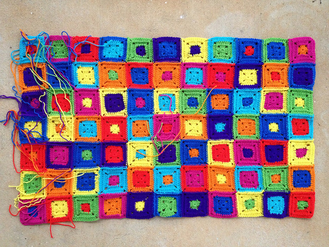 weaving in ends of crochet squares