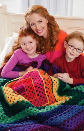 crochetbug, leslie stahlhut, bright squares throw, granny square, crochet square