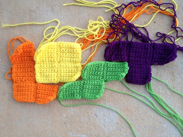 LOST in crochet tetrominos