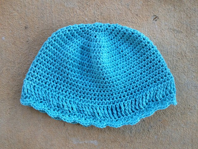 blue crochet chemo cap