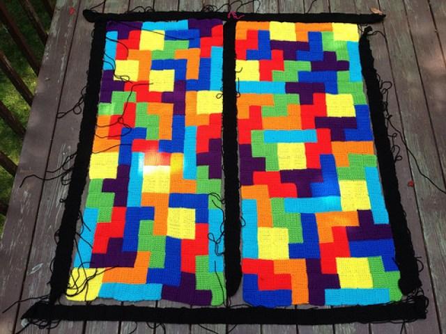 tetris crochet blanket crochet squares