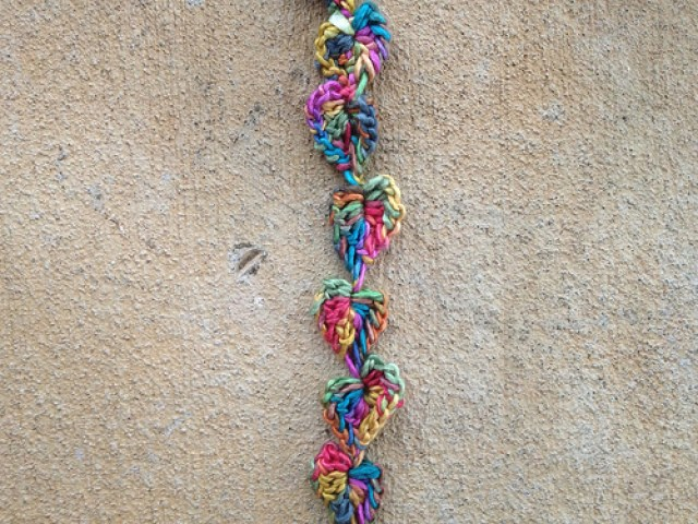Silky string of crochet hearts