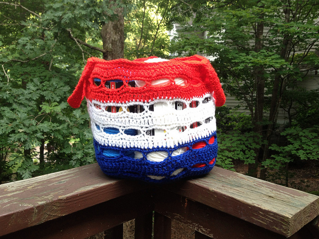 tricolore crochet stash basket