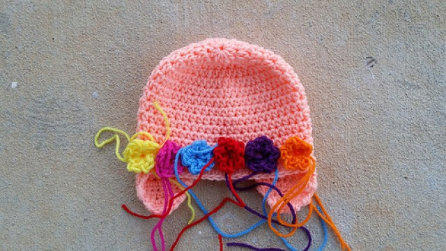 crochet hat with crochet flowers