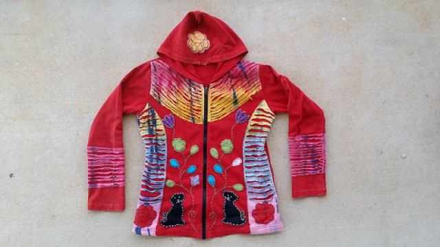 My best hoodie ever, crochetbug, black dogs, red hoodie