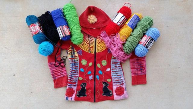 My best hoodie ever with coordinating yarns for a stash buster crochet hat, crochetbug, crochet beanie, crochet cap, crochet toboggan