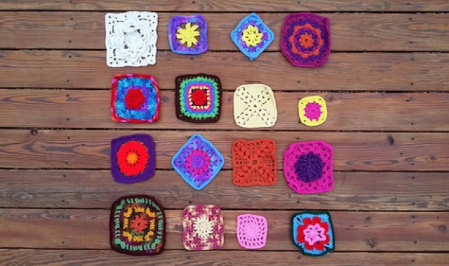 An assortment of crochet squares
