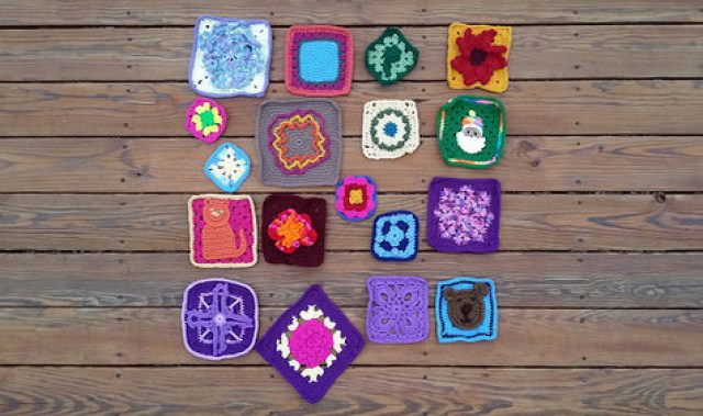 A collection of crochet granny squares