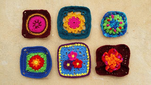 Six crochet granny squares