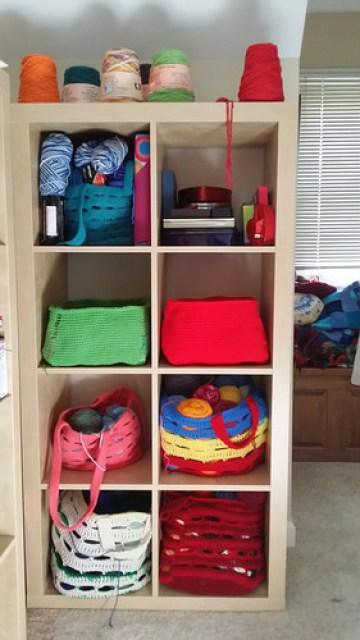 Ikea cubby crochet baskets in situ