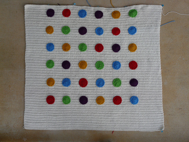 crochet dots appliqued