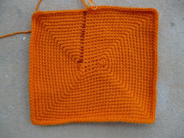 bright orange crochet basket for an Ikea cubby