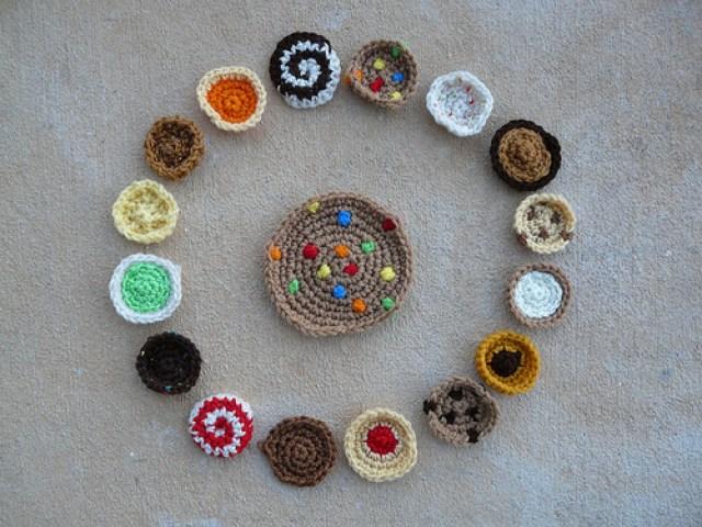 assorted crochet cookies