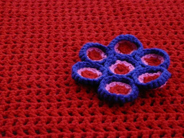 psychedelic crochet flower