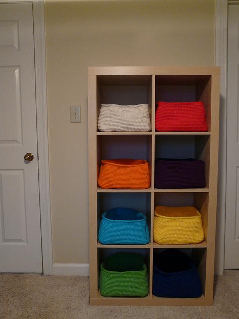 eight crochet baskets Ikea Expedit