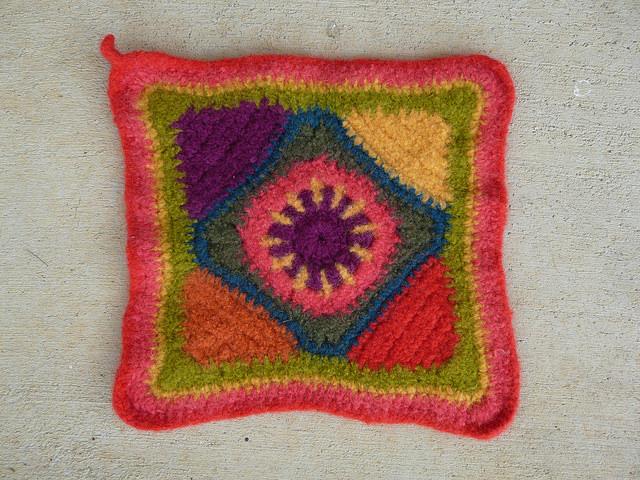 felted crochet potholder