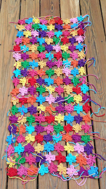six petal flower crochet shawl
