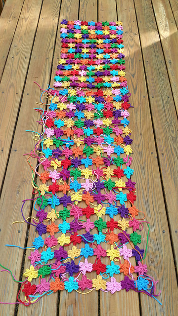 crochet flower join as you go crochet shawls