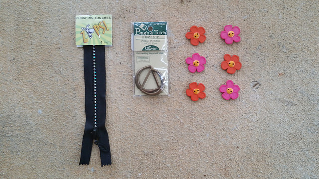 Accoutrement swag I bought at Knit One, Weave Too, crochetbug, zipper, buttons, d-rings