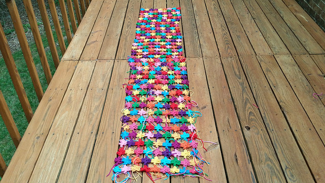 two crochet shawls made from join as you go crochet flowers