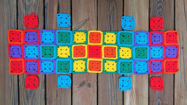 sunshine and shadow crochet squares