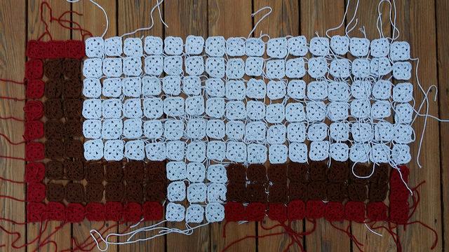crochet squares front porch panel