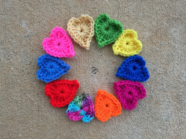 ten boho crochet heart centers