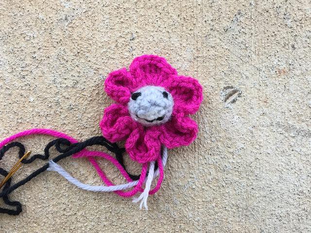 crochet flower with crochet shark