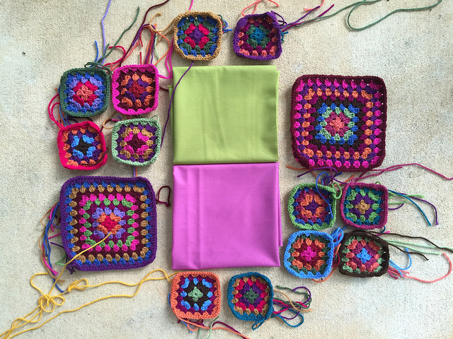 crochet squares and lining fabric