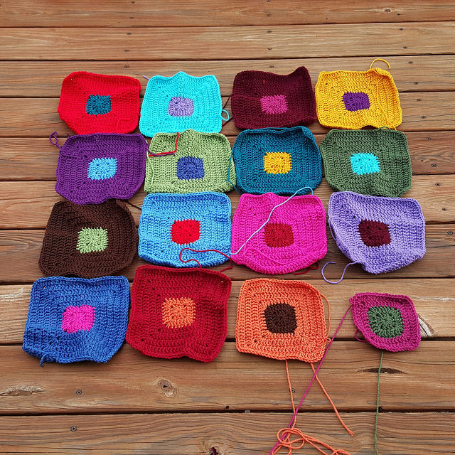 sixteen crochet squares
