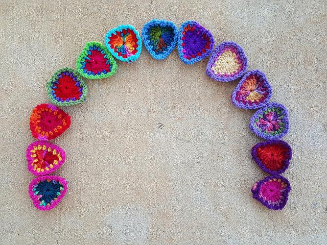 rainbow of boho crochet hearts