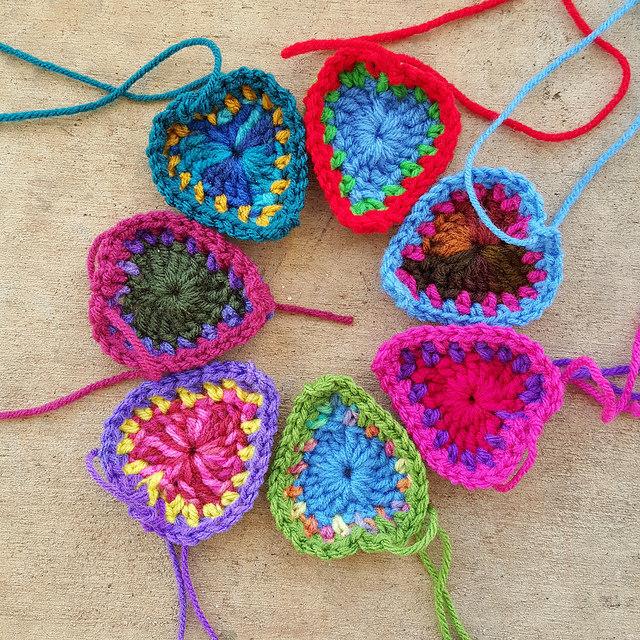 seven boho crochet hearts